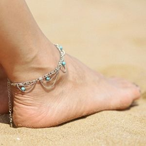 Boho Silver Turquoise Anklet